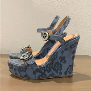 Sergio Rossi floral canvas wedges sandals sz 6.5